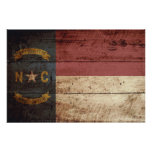 North Carolina State Flag on Old Wood Grain Poster