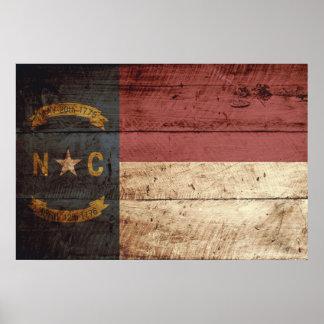 North Carolina State Flag on Old Wood Grain Poster