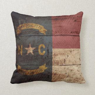 North Carolina State Flag on Old Wood Grain Throw Pillow