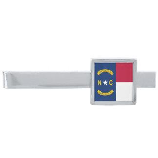 North Carolina State Flag Silver Finish Tie Bar