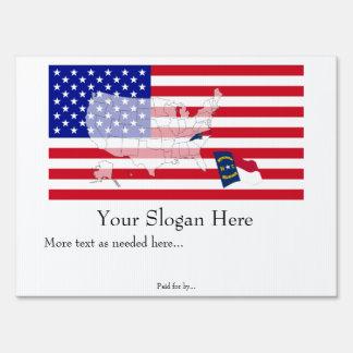 North Carolina State Flag USA Map Vote yard sign