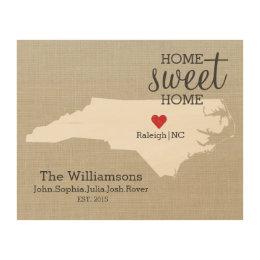 North Carolina State Love Map Custom Family Name Wood Wall Decor
