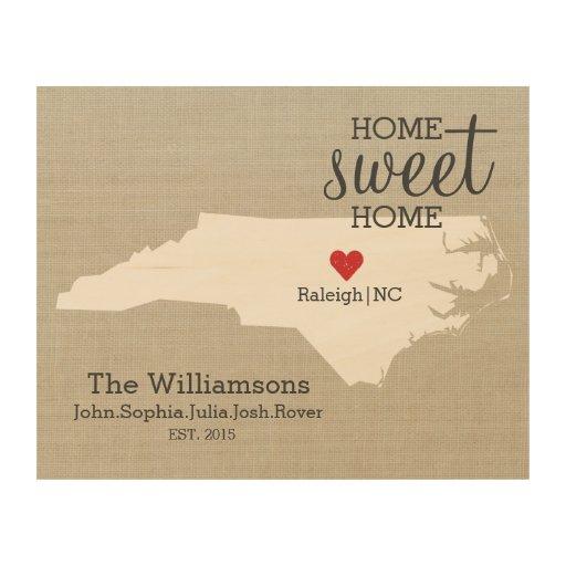 North Carolina State Love Map Custom Family Name Wood Wall ...