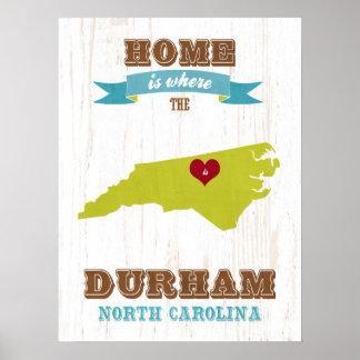 North Carolina State Map Art- Love Durham Art Poster