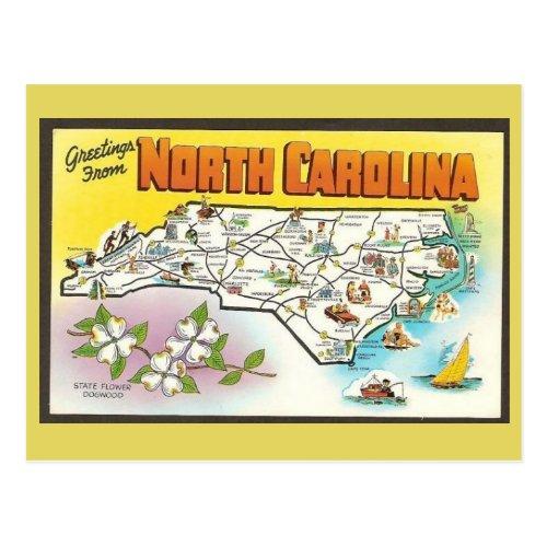 North Carolina State Map Postcard