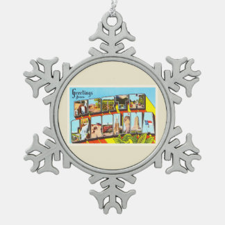 North Carolina State NC Vintage Travel Postcard- Snowflake Pewter Christmas Ornament