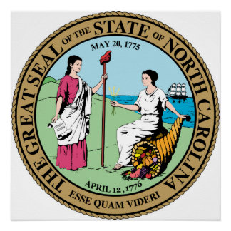North Carolina state seal america republic symbol Poster