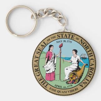 North Carolina State Seal Basic Round Button Keychain