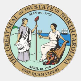 North Carolina State Seal Classic Round Sticker