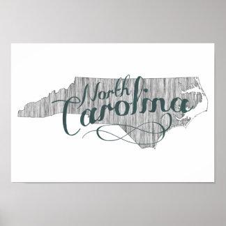 North Carolina State Typography Poster