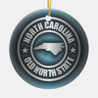 """North Carolina Steel 2"" Double-Sided Ceramic Round Christmas Ornament"