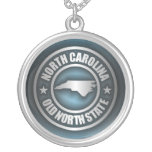 """North Carolina Steel 2"" Round Pendant Necklace"