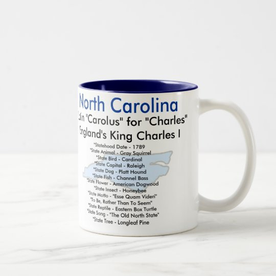 North Carolina Symbols & Map Two-Tone Coffee Mug