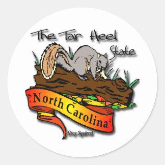 North Carolina Tar Heel State Gray Squirrel Round Stickers