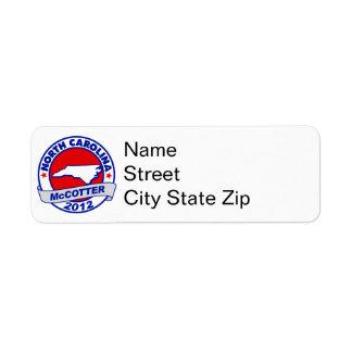 North Carolina Thad McCotter Custom Return Address Labels