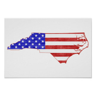 North Carolina USA flag silhouette state map Poster