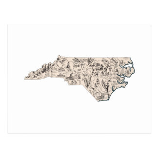 North Carolina Vintage Picture Map Postcard