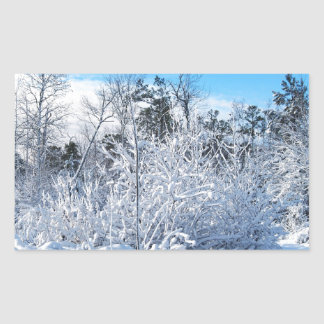 North Carolina Winter Snowfall Landscape Rectangular Sticker