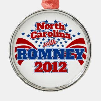 North Carolina with Romney 2012 Metal Ornament