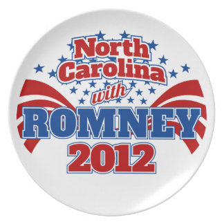 North Carolina with Romney 2012 Party Plate