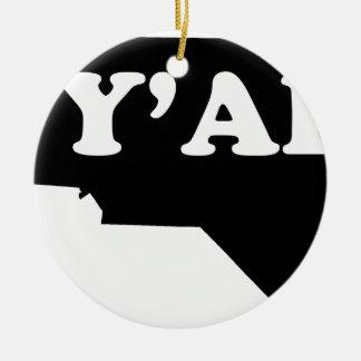North Carolina Yall Ceramic Ornament