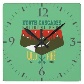 North Cascades National Park Square Wall Clocks