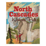 North Cascades national park Vintage Travel Poster