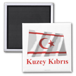 North Cyprus Waving Flag with Name in Turkish Fridge Magnet