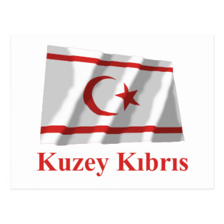 North Cyprus Waving Flag with Name in Turkish Post Card