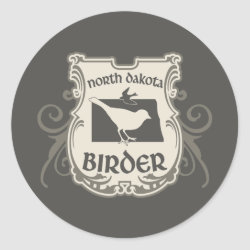 Round Sticker with North Dakota Birder design