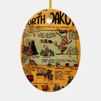 North Dakota Comic Book Ceramic Ornament