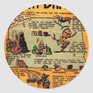 North Dakota Comic Book Classic Round Sticker