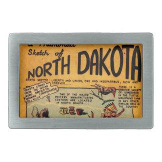 North Dakota Comic Book Rectangular Belt Buckle