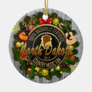 North Dakota Country Music Fan Christmas Ornament