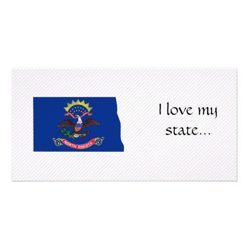 North Dakota Flag Map Photo Cards