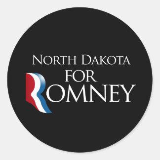 North Dakota for Romney -.png Round Sticker