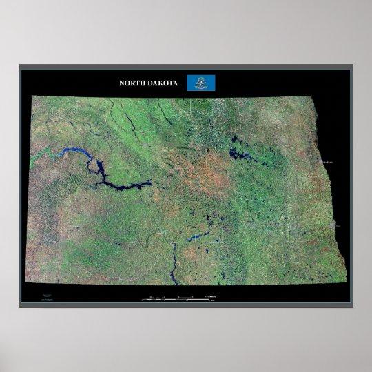 North Dakota from space satellite poster
