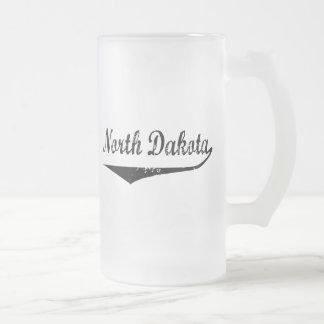 North Dakota Frosted Glass Beer Mug