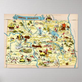 North Dakota Funny Vintage Map Poster