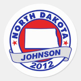 North Dakota Gary Johnson Round Stickers