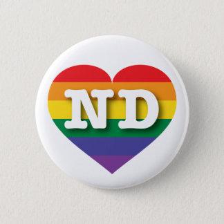 North Dakota Gay Pride Rainbow Heart - Big Love Pinback Button