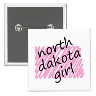 North Dakota Girl with Scribbled North Dakota Map Pinback Buttons