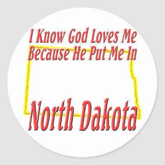 North Dakota - God Loves Me Classic Round Sticker