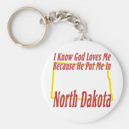 North Dakota - God Loves Me Keychain