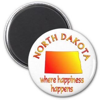 NORTH DAKOTA Happiness 2 Inch Round Magnet