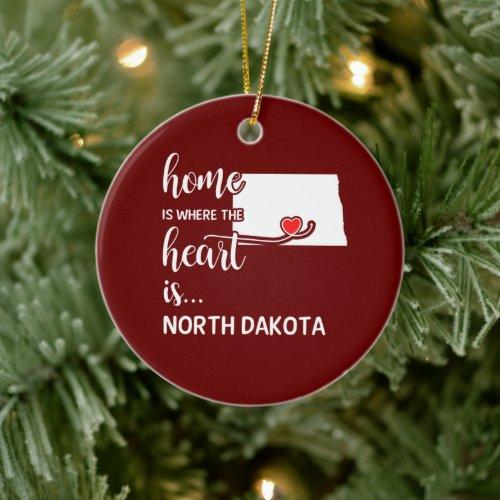 North Dakota home is where the heart is Ceramic Ornament