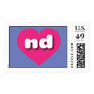 North Dakota hot pink heart - mini love Postage