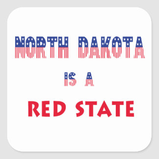North Dakota is a Red State Square Sticker