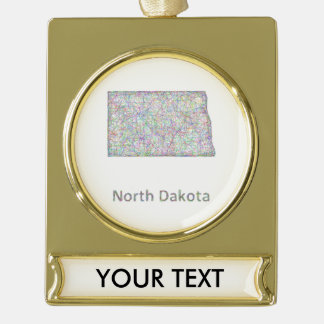 North Dakota map Gold Plated Banner Ornament