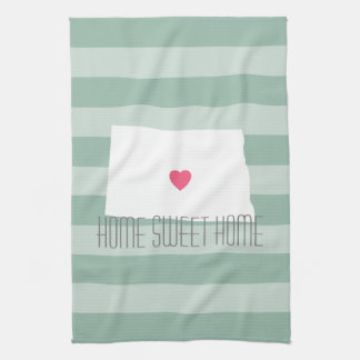 North Dakota Map Home State Love with Custom Heart Kitchen Towel